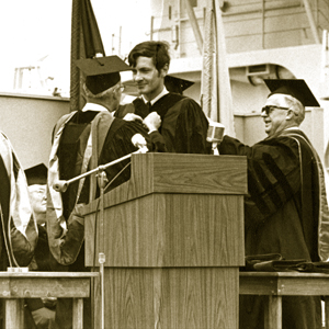 Frank Bohlen (at lectern) receives the first MIT-WHOI Joint Program degree