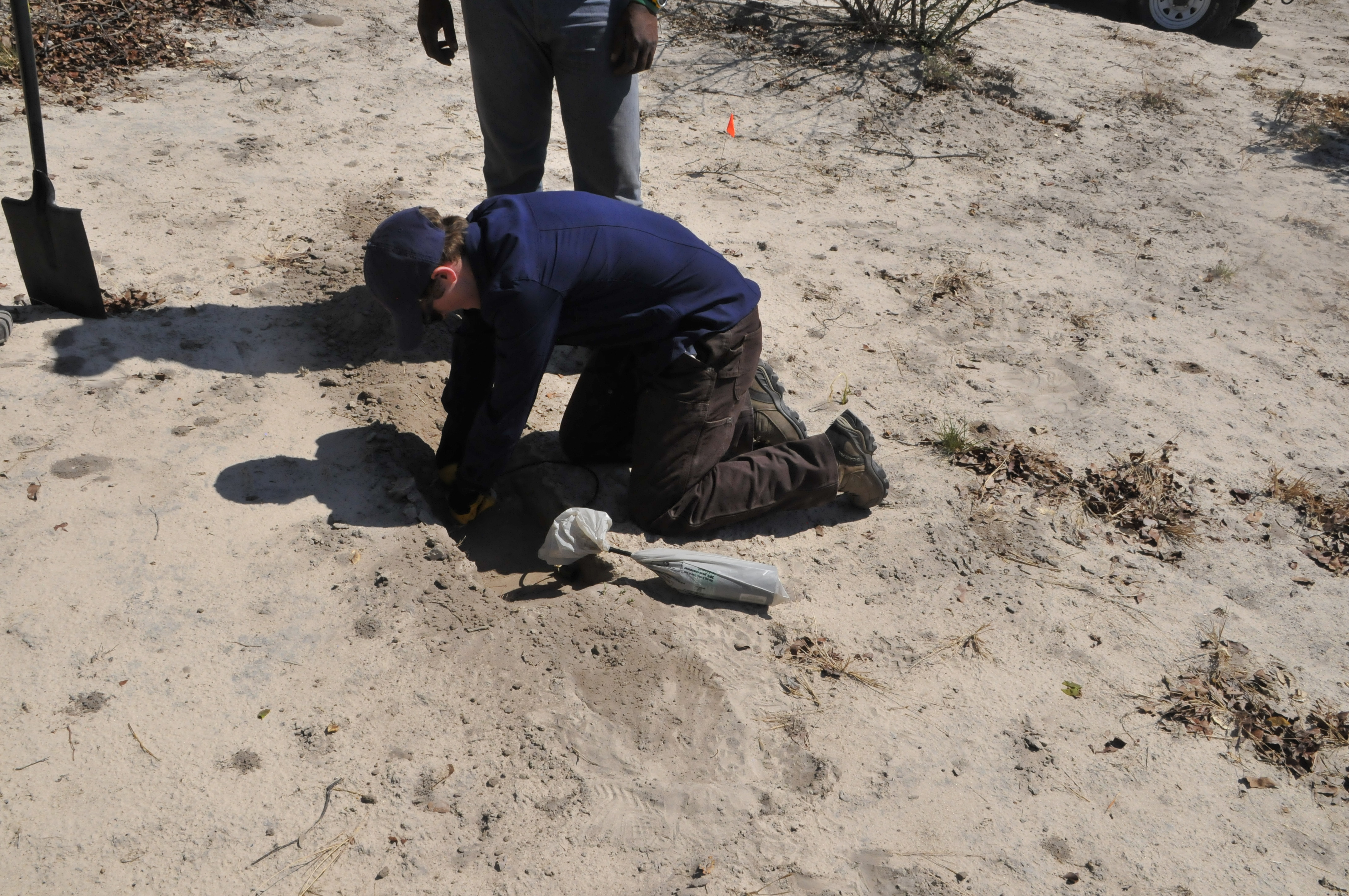 Laura_Stevens_digging_a_hold_to_bury_a_geophone_in_Botswana_close_459333.jpg