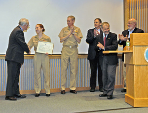 Ensign Allison Berg presented with the first Pittenger Fellowship